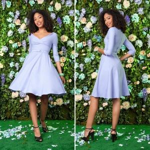Pinup Couture Lavender Erin Dress with 3/4 Sleeves
